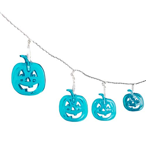 Teal Pumpkin Halloween Fairy String Lights Party Decorations (20 Count) - LED Jack O Lantern Indoor / Outdoor Light Decor w/ 8 Modes & 6 Hour Timer