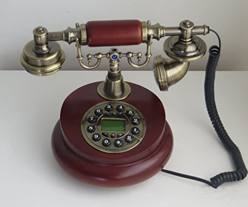 Designo Antique Telephone Wooden vintage 60s fashion corded dial phone set antik retro home accessory decor