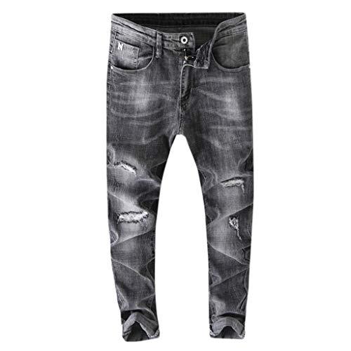 Skinny Jeans Herren für Herren-Jeanshosen, Ripped Jeans Herren Slim Fit | Denim graue Jeanshose für Männer | Stretch Freizeithose Winter Basic | Lange Hose Denim Mode Beiläufig