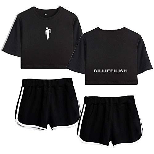 Billie Eilish Cantante Estampado de Moda Personalidad de Verano Marca de Marea Expuesto Ombligo Manga Corta Camiseta Pantalones Cortos Traje Femenino era Alto Estilo Europeo y Americano