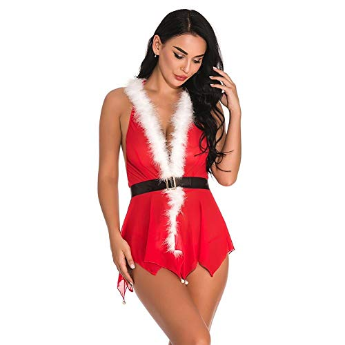 Damen-Reizwäschebekleidung & Schuhe Für Modepuppen Weihnachten Cosplay Deep V Erotik Geschenk Sexy Ärmellose Kapuzen Outfits Frauen Dessous-XXL