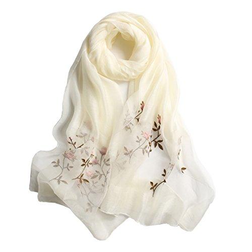 DorkasDE Damen Schal lange Stola Stickerei Leicht Schal aus Seide & Baumwolle Meterial 90 * 190cm