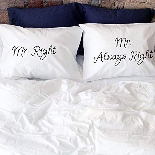 Funda de almohada gay regalo de boda Mr Right Mr Always Right Gay pareja fundas de almohada Mr and Mr Gay LGBT mismo sexo pareja regalos dos novios gays Funda de almohada para sofá habitación