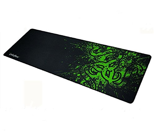 EZONEDEAL 90x30cm Big Size Desk Mat Razer PC Computer Desktop Mouse Mat Pad Wireless USB Gaming Keyboard Mouse Gaming Large Mouse Pad XXL (Black-Green)