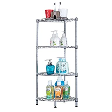 SINGAYE Corner Shelf, 4-Tier Mesh Wire Corner Rust Proof Shelf Kitchen Bathroom Storage