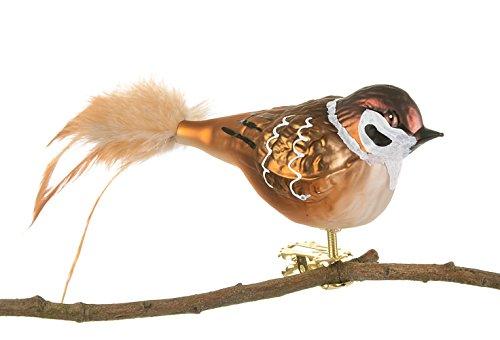 Thüringer Weihnachtst 52-231 - Uccello in vetro, con piume naturali