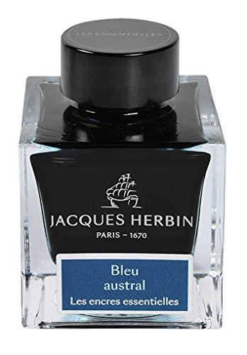 Jacques Herbin 13116JT - Bote de tinta para bolígrafos y bolígrafos de punta redonda, 50 ml, color azul austral