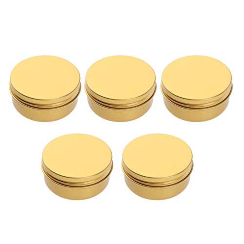 perfeclan Lot de 5 Pots Vide en Aluminium Pot Cosmétique de Echantillon pour Baume à Lèvre Coméstique avec Couvercle - 150ml
