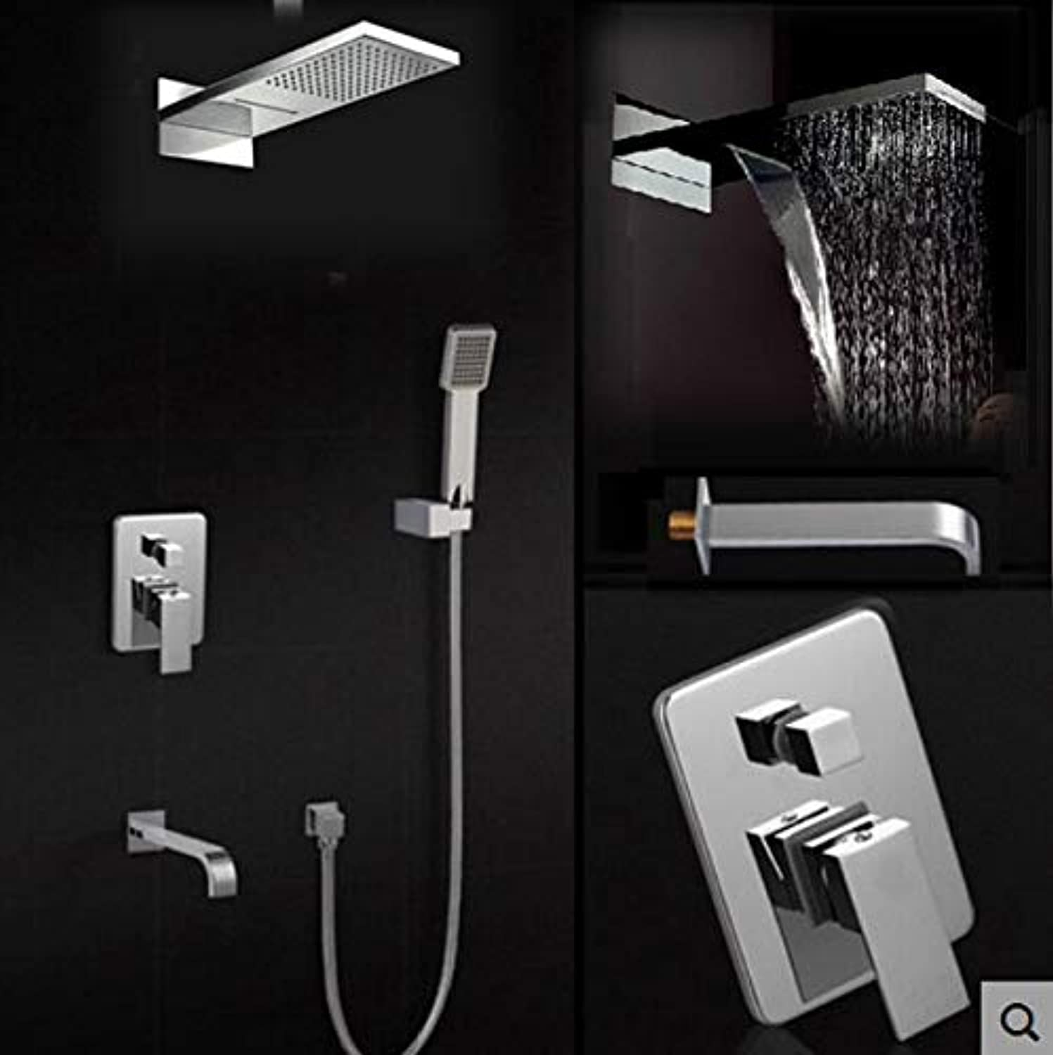 Luxury Rain Waterfall Shower Faucet Mixer Taps Wall Mount Bath Shower Faucet Set with Handshower Chrome Finish,Clear
