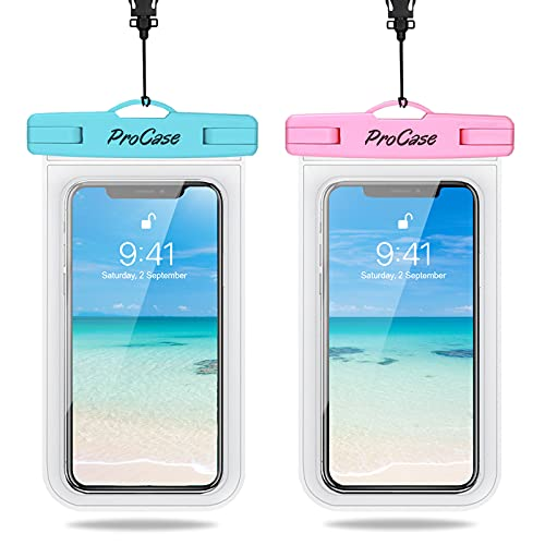 ProCase 2 Bolsas Impermeables Universales para iPhone 12 Mini/Pro/Pro MAX/iPhone SE 2020/XS Max/XR/X/8/7+/6S, Galaxy S20/S20+/S20 Ultra 5G/S10/S10e/S9/S9+/Note8, Huawei LG BQ hasta 7'-Azul/Rosa