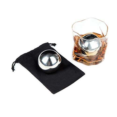 LUITON Metal Stainless Steel Ice Balls Chilling Stone Reusable for Whiskey Balls Scotch Vodka Wine Ice Chiller Rocks 5.5cm A Pair