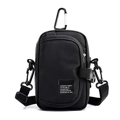 Bolso de mano para teléfono móvil, bolso de hombro, bolso de hombro, bolso de cinturón, resistente al agua, para el teléfono móvil, para el trabajo, la escuela, viajes (negro)