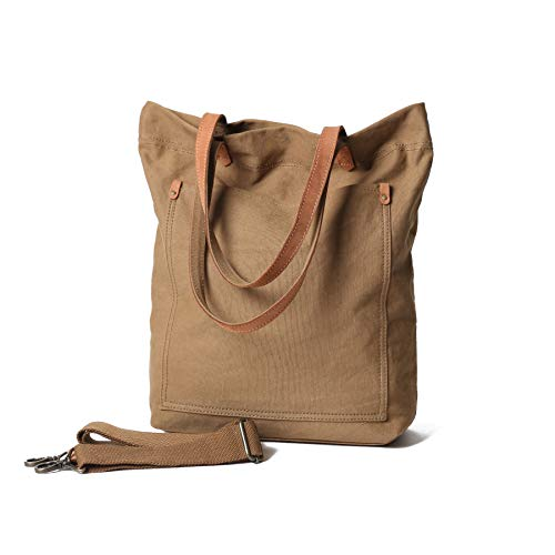 Canvas Transport Tote Handbag Shoulder Crossbody Bag For Men & Women Double Genuine Leather Handles (Medium Brown)