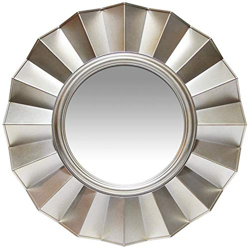 Infinity Instruments Ruffled Round Mirror 20 inch Sunburst Mirror Silver Mirror Decorative Wall Art Circular Large Modern Frame Starburst Accent Deco Mirrors Decor Circle