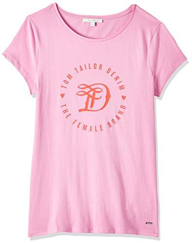 TOM TAILOR Denim Damen Basic Logo Tee T Shirt, Wild Orchid Pink, M EU