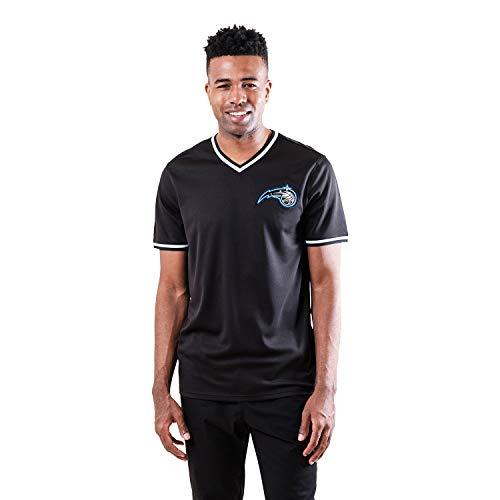 Ultra Game NBA Orlando Magic Mens Jersey V-Neck Mesh Short Sleeve Tee Shirt, Black, Large