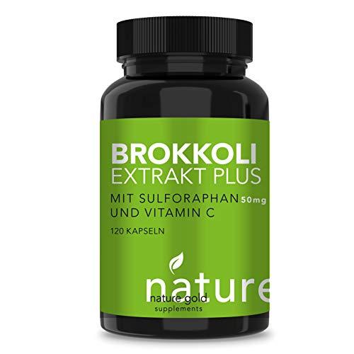 BROKKOLI EXTRAKT hochdosiert 500 mg (50 mg Sulforaphan) plus extra VITAMIN C 80 mg (120 Kapseln) für Immunsystem und Zellschutz