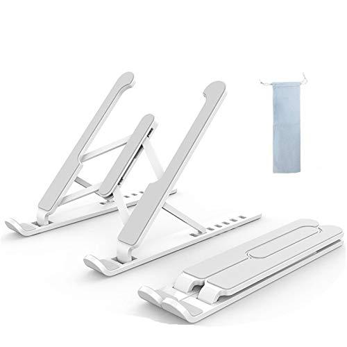 LANGYA Soporte para portátil Ajustable portátil Riser, Soporte del Ordenador con la Bolsa de Almacenamiento, Soporte Plegable del Ordenador portátil de la refrigeración de aluminiotableta White