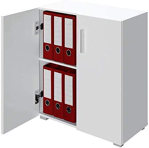 BAKAJI Mobile Madia con Doppia Anta e 2 Ripiani Interni Mobiletto Credenza Armadio Multiuso Cucina Bagno Ufficio Design Moderno in Legno MDF Dimensione 77 x 31 x 60 cm (Bianco)
