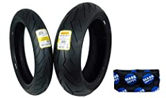 Comes with Pirelli Logo Key Chain! WSBK-derived profile for agile response, quick turn-in and transitions. Bi-compound design with a wide race compound strip offering full grip from mid-lean angle. Large footprint area for improved adherence. W-rated...