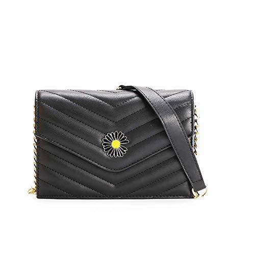 Fashion Women Designer Style Quilted PU leather Chain Strap Crossbody Bag Ladies Shoulder Bag (Black)