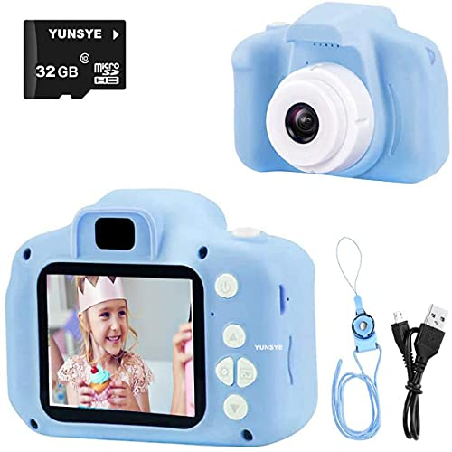 Digital Camera for Kids, 1080P FHD Kid Digital Video Camera Children Camera with 32GB SD Card for 3-10 Years Girls (blue)