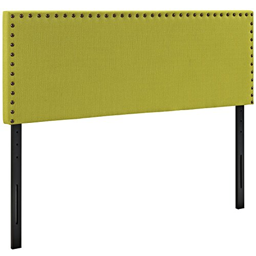 Modway Phoebe Fabric Upholstered Full Size Headboard with Nailhead Trim in Wheatgrass