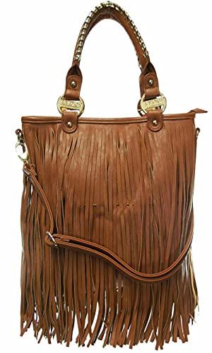 KIKFIT Borsa da donna in nappa firmata LYDC Borsa a tracolla con chiusura a zip da donna in ecopelle con marchio (tan)