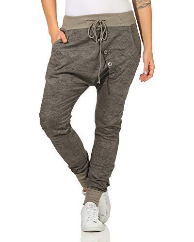 Moda Italy - Sweatpants Baggy Boyfriend Pantaloni da donna in cotone felpato per jogging tempo libero cappuccino Taglia unica