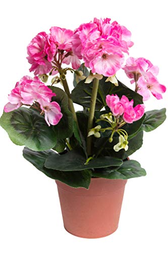 DPI künstlicher Geranienbusch mit 6 Stielen und 6 Blütenköpfen in braunem Kunststofftopf (pink -2)