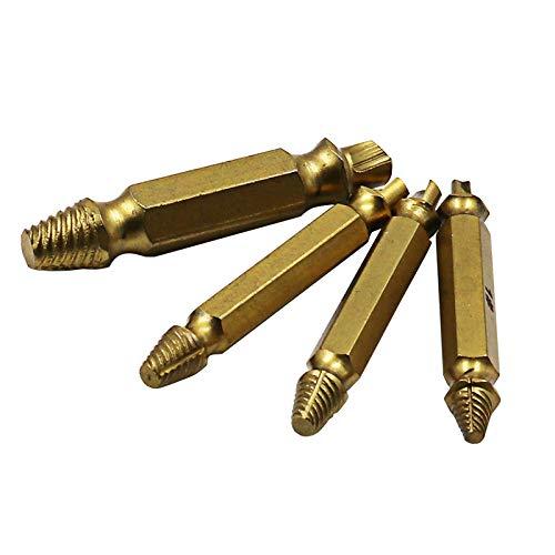 Extractor de tornillos de daño de pernos rotos de titanio 4 piezas, broca extractora de brocas Easy Out Stud Reverse