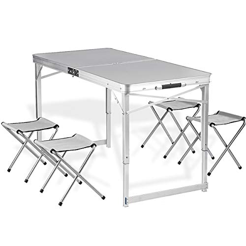 Adalantic 4-person Picnic Folding Table, Height Adjustable, Portable Aluminum Camping Table with 4...