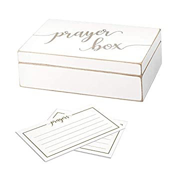 Lillian Rose White Distressed Box with Prayer Cards 6.5