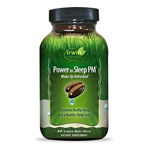 Irwin Naturals Power to Sleep PM - Relaxing Blend of Melatonin, GABA, Ashwagandha, Valerian, L-Theanine & More - Calm Mind & Body - 60 Liquid Softgels