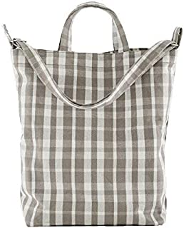 BAGGU Duck Bag Canvas Tote, Essential Tote, Spacious and Roomy, Dove Plaid