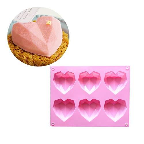liangjunjun Moule 6-Cavité 3D Amour Coeur Diamant en Forme De Silicone Rectangulaire DIY Moule Mousse Gâteau Au Chocolat Savon Pudding Moule À La Main De Cuisson Outils Plateau
