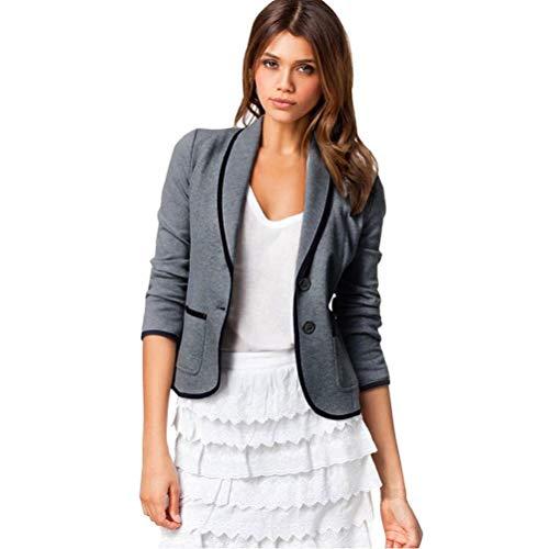 Bluelucon Dames blazer getailleerd korte elegante lange mouwen slim kantoor jassen pak casual korte blazer jas jas korte jas met zakken