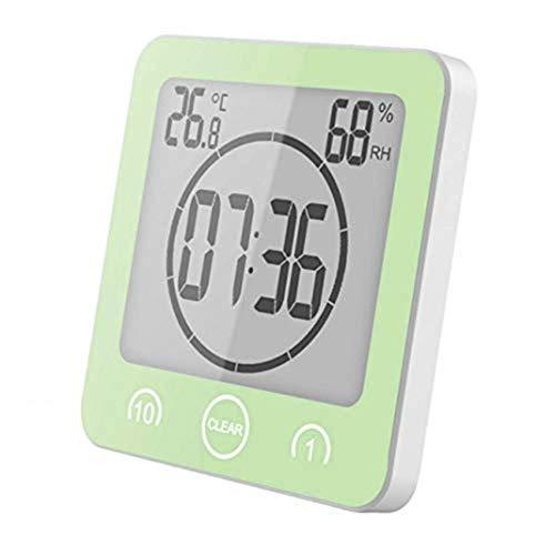 wasserdichte Badezimmeruhr, LCD Digital Silent Saugnapf Touchscreen Wanduhr, Intelligente Wettertemperatur Luftfeuchtigkeit Timer Wecker, Blau