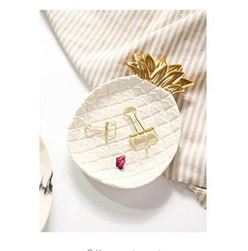 Creative Gold Ananas Keramik, Golden Ananas Jewelry Paletten Lebensmittel Paletten, Dry Fruit Teller Einheitsgröße Weiß / goldfarben
