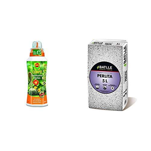 Compo Cactus, Plantas crasas y suculentas, Fertilizante líquido con Extra de potasio, 500 ml, 23x7x6.3 cm, 2140902011 + Sustratos - Sustrato Perlita 5L - Batlle