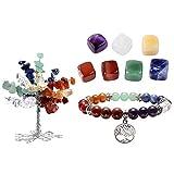CrystalTears 7 Chakra Gems Tree of Life Set,Money Tree+ Irregular Chakra Stones+ Chakra Bracelet Tree Pendant Reiki Healing Feng Shui Spiritual Decor Ornaments