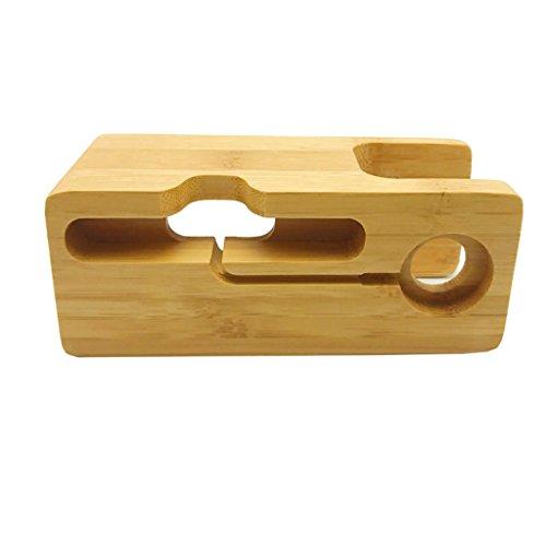 B Blesiya Tenedor del Teléfono Móvil del Cargador de La Estación de Carga del Eje del USB Hecho de Bambú con El Soporte de La Correa de Reloj para IWatch,