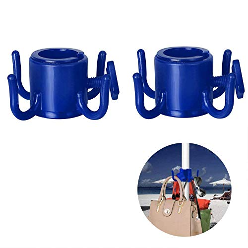 TAGVO Gancho para Colgar de sombrilla de Playa, 2pcs 4-Pines Gancho de Paraguas de plástico Colgar Toallas/Sombreros/Ropa/cámara/Gafas de Sol/Bolsas - Durable
