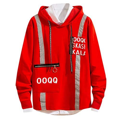 MRULIC Tops Herren Coole Hoodies Pullover Outdoor Sweatshirt Kapuzenpullover RH-007(Burgundy,EU-48/CN-XL)