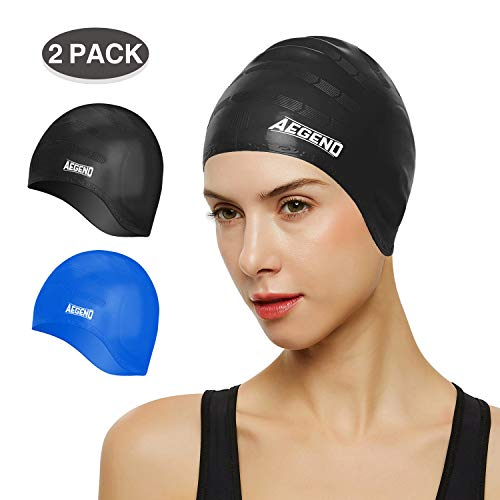Aegend Unisex Swim Caps Cover Ears (2 Pack), Durable & Flexible Silicone Swimming Caps for Long Hair & Short Hair,Easy to Put On and Off, Black Blue