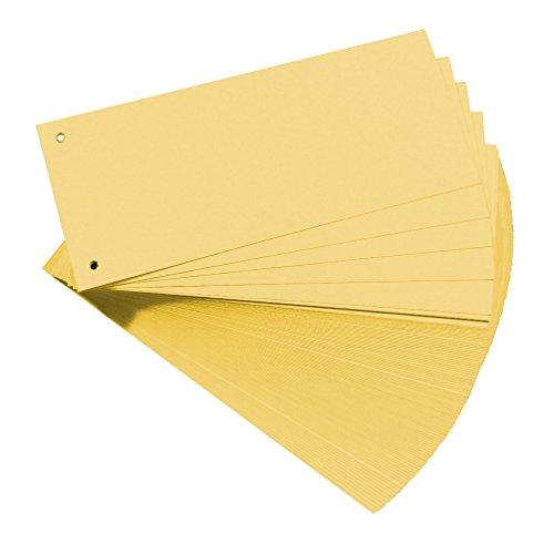 Original Falken 100er Pack Premium Karton-Trennstreifen. Made in Germany. 10,5 x 24 cm gelb Trennlaschen Trennblätter Ordner Register Blauer Engel