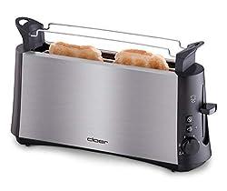 """Cloer 3810 Langschlitztoaster, 880 W für 2 Toastscheiben mit """"Graubrot-Funktion"""" zum Toasten von verschiedenen Brotsorten, Brötchenaufsatz, Edelstahlgehäuse"""