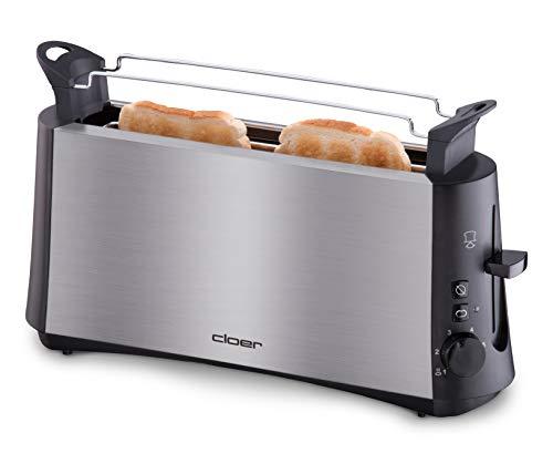 """Cloer 3810 Langschlitztoaster, 880 W für 2 Toastscheiben mit \""""Graubrot-Funktion\"""" zum Toasten von verschiedenen Brotsorten, Brötchenaufsatz, Edelstahlgehäuse"""