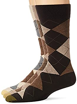 Gold Toe Men s Carlyle Argyle Crew Socks 3-Pairs Taupe Argyle Large