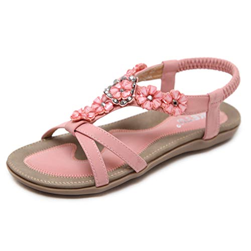 ZAPZEAL Damen Sommer PU Leder Bohemia Flach Sandalen Frauen Boho Strass Flache Sommer Sandalen,Pink 41 EU